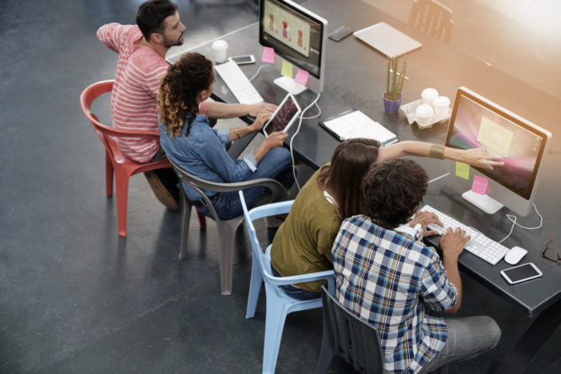 Co-working spaces can be scenes of collaboration